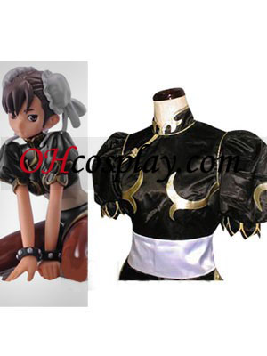 Street Fighter Chun Li svart Cosplay Kostym