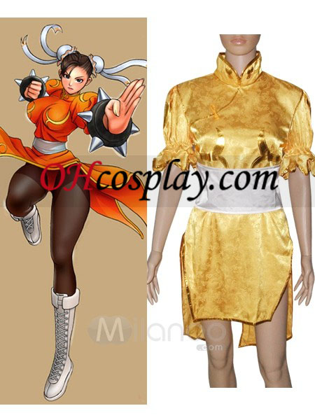 Street Fighter Chun Li geel Cosplay Costume