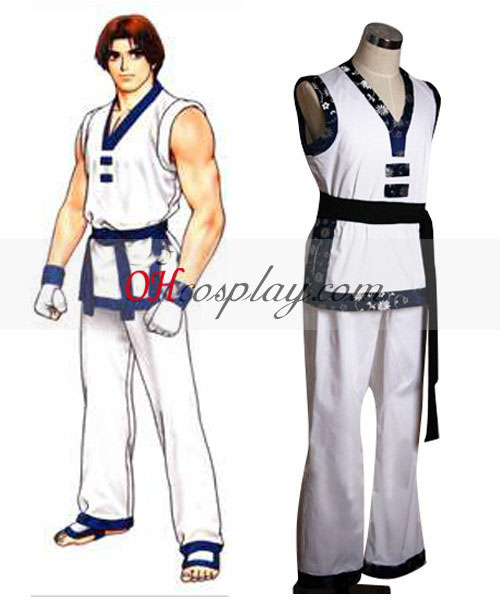 "The King of Fighters"" Kim Kaphwan Costumi Carnevale Cosplay Bianco"