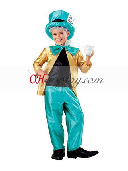 Alice também Wonderland Mad Hatter Kid's Cosplay Traje