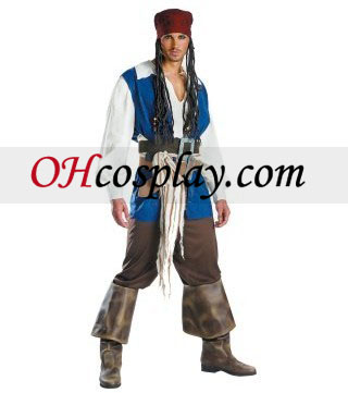 Pirati dei Caraibi 3 capitano Jack Sparrow Costume Adulto Qualità