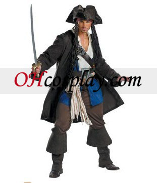 Pirates of equivalent Caribbean 3 Captain Jack Sparrow Prestige Adult Costume