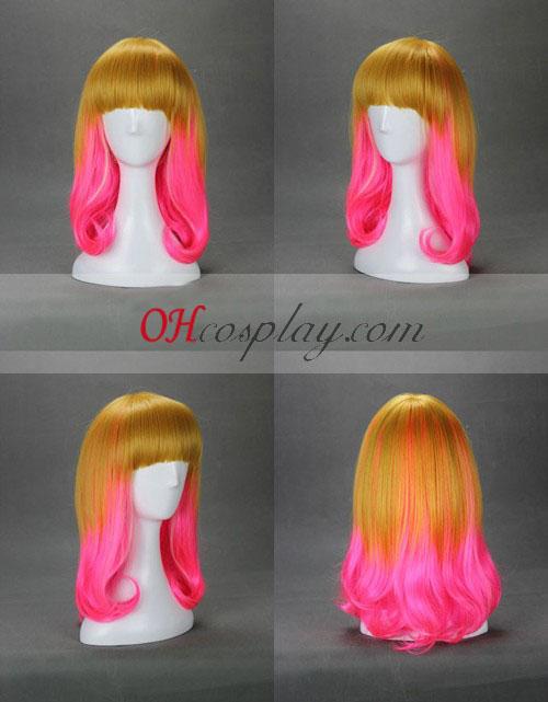 Япония Harajuku серия златни&розов Cosplay Wig
