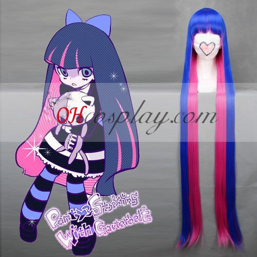 Panty et Stocking with Garterbelt bas bleu et rose cosplay perruque