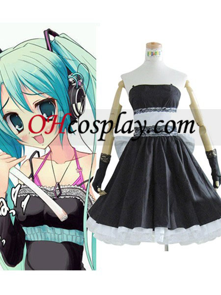 Vocaloid Miku Hatsune Black Dress Cosplay Costume