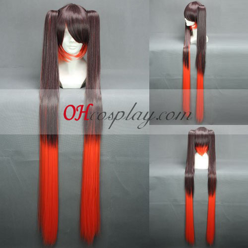 Vocaloid Miku morts Brown & Red perruque de Costume Carnaval Cosplay