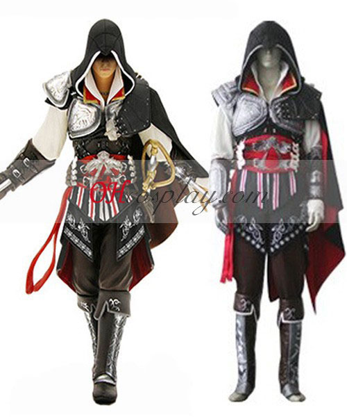 Assassin 's Creed II Ezio Black Edition Cosplay Kostym