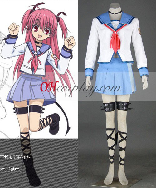 Angel Beats! Yui skoluniform Cosplay Kostym