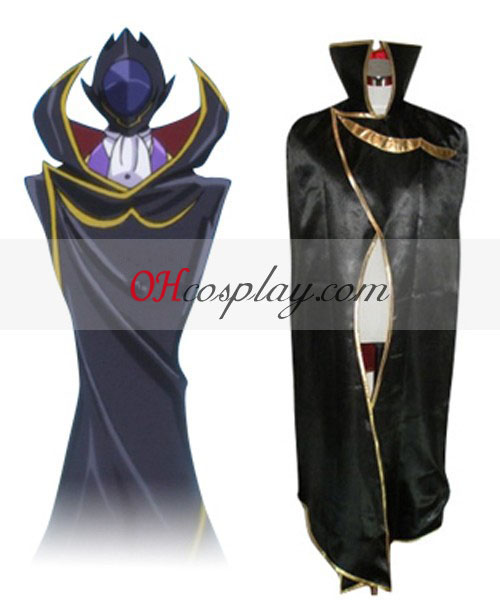 Code Geass Lelouch Zero Black Cloak Cosplay Kostuum