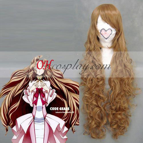 Code Geass Nunnally Lamperouge Amarelo Marrom Onda peruca Cosplay