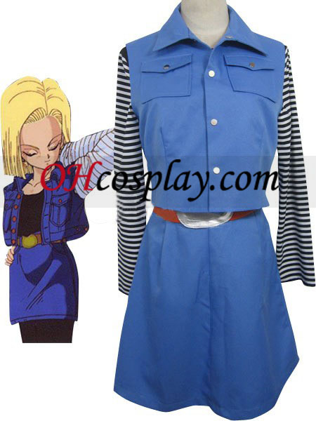 Dragon-Ball Android #18 uniforme combinado Pano Couro bijuterias