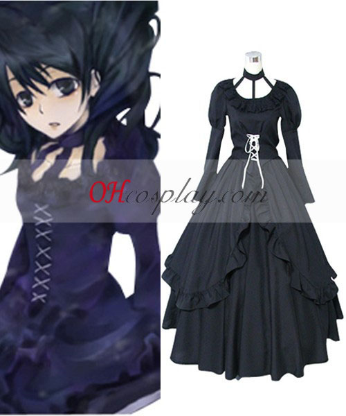 D.Gray-mannen Lenalee Lee Princess Black Dress Cosplay Kostym