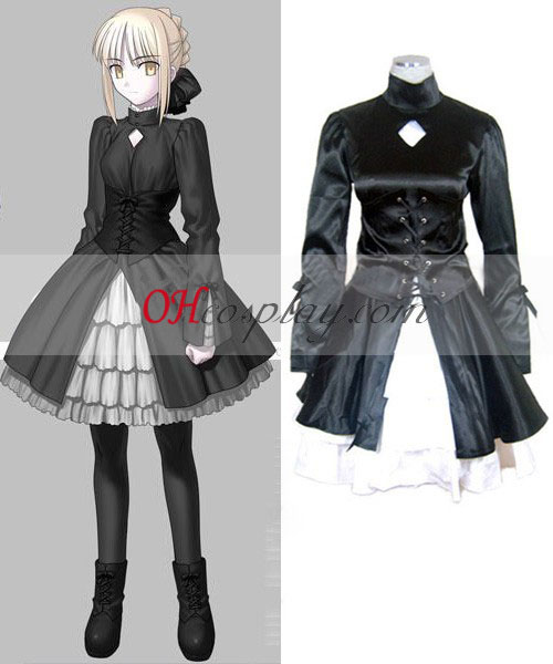 Fate Saty Night Saber Svart Klänning Cosplay Kostym-Size Small