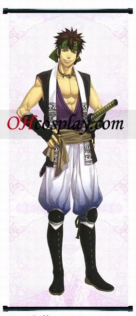 Hakuouki Nagakura Shinpachi Kort Cosplay Kostym