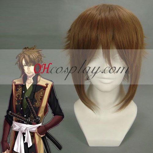 Hakuouki Soji Okita καφέ Cosplay Wig
