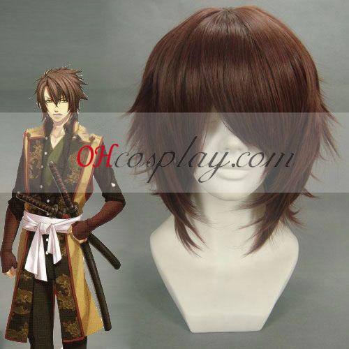 Sōji Hakuouki Okita Cosplay parrucca Marrone