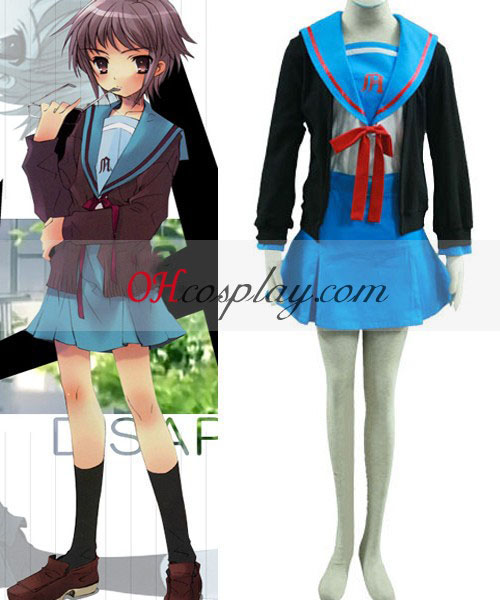 Haruhi Suzumiya Yuki Nagato uniforme escolar Cosplay Traje