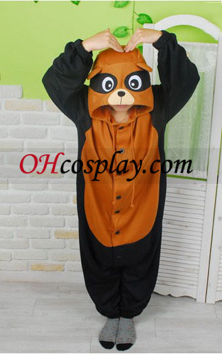 Сладки Racoon Kigurumi костюм пижами
