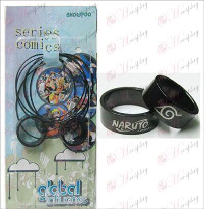 Naruto konoha black steel couple rings necklace (rope)