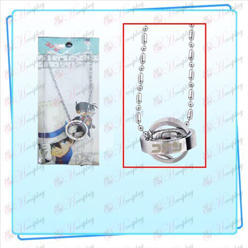 Conan logo double ring necklace (silver) card installed