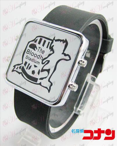Конан 16-годишнината от тънка студена щит червено часовник LED - класическо черно каишка