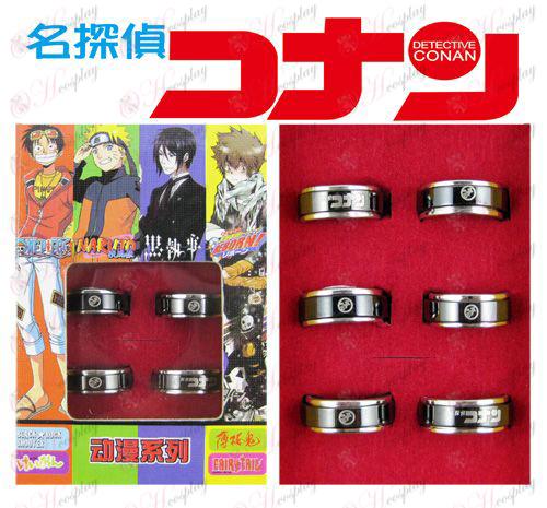 Conan 16 επέτειο μαύρο δαχτυλίδι χάλυβα περιστρεφόμενη (6 / set)