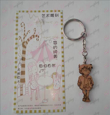 Conan wood carving keychain (A a)