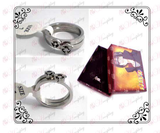 Naruto write round eyes couple rings (stainless steel)