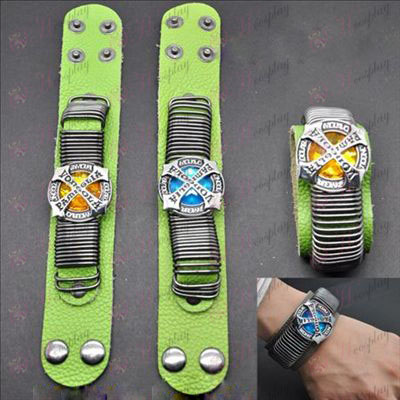 Reborn! Accessories punk green leather strap Gold - Blue flag two-color (a)
