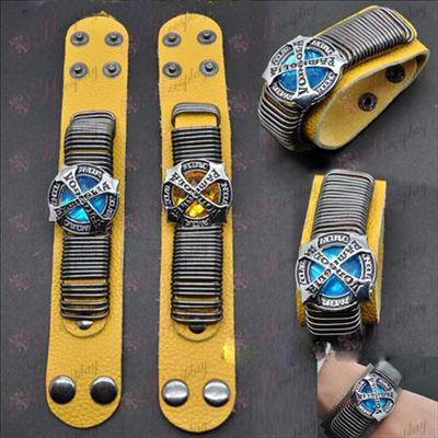 Reborn! Accessories punk leather strap yellow gold - blue flag two-color (a)