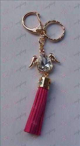 Reborn! Accessories white diamond wings keychain (Rose)