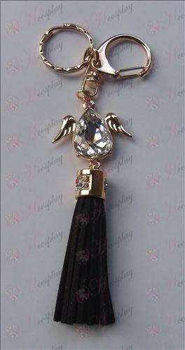 Reborn! Zubehör weißen Diamanten Flügel keychain (Schwarz)