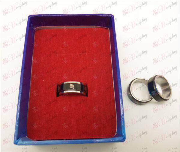 Naruto konoha svart stål roterande ring