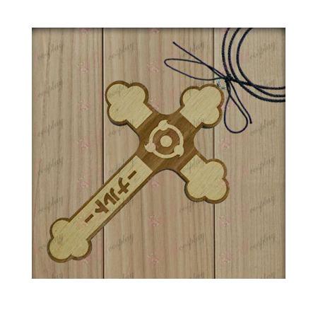Naruto - écrire les yeux ronds drapeau collier en bois de croix