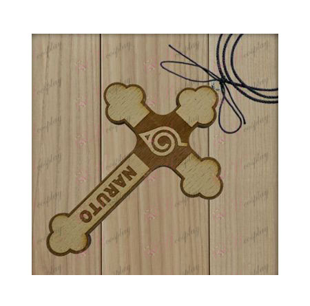 Naruto - konoha mark wooden cross necklace