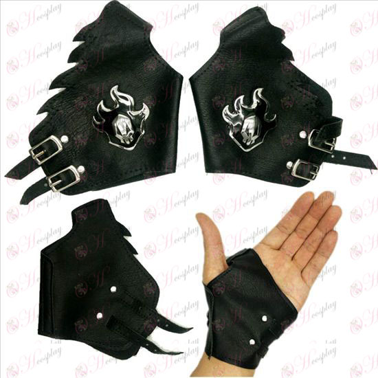 Bleach Accessories logo silver leather gloves