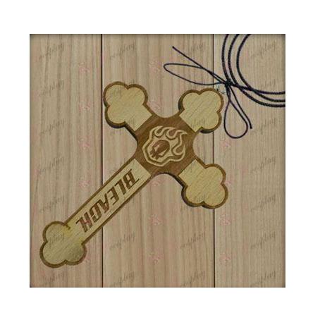 Bleach Acessórios vazio sinal placa colar de cruz de madeira