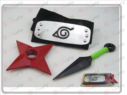 Naruto Shuriken + no + foglie nere amari (tre pezzi)