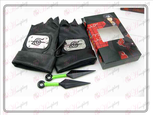 Naruto läderhandskar + Dubbel Grön har någon (familj rebell fördragsamhet av fyra)
