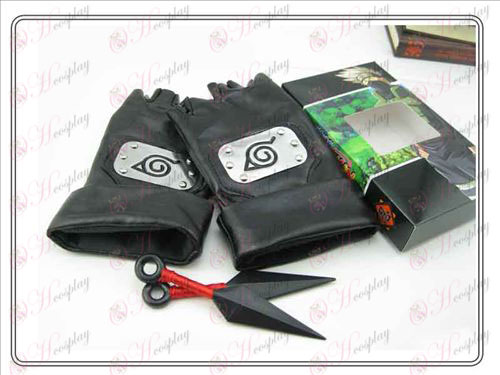 Naruto + dual red leather gloves bitter No (kiba family of four)