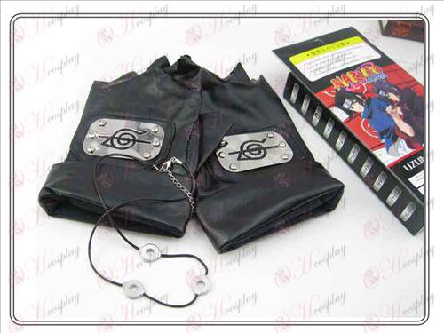 Naruto rebell fördragsamhet handskar + iller halsband (tredelad)