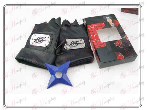 Naruto rebell fördragsamhet handskar + Blå Shuriken (tredelade)