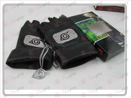 나루토 Konoha의 Konoha의 가죽 장갑 + 목걸이 (세 조각)