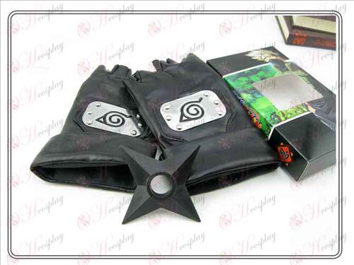 Naruto Konoha svart läder handskar + Shuriken (tredelade)