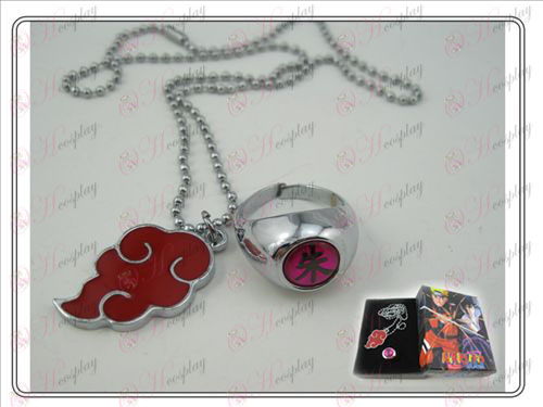 Naruto Red Cloud ketting + ring (drie-delig)