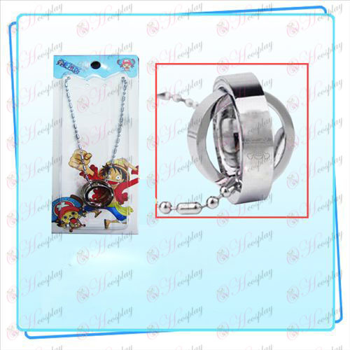 One Piece Accessories Dual Ring Necklace (Silver) card installed