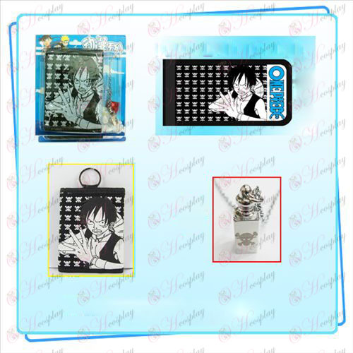 One Piece Accessories Luffy necklace fold wallet combo (necklace random distribution)