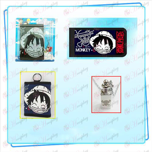 One Piece Accessories Luffy avatar necklace fold wallet combo (necklace random distribution