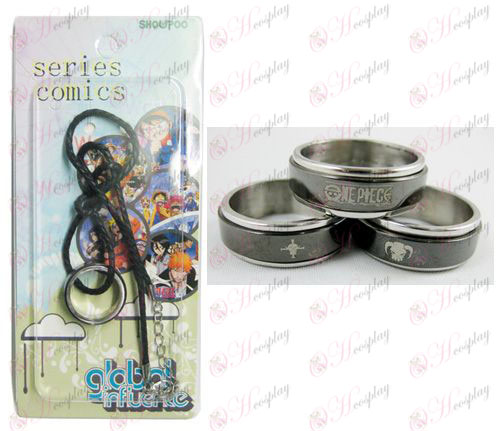 One Piece Accessories Ice Black Steel Ring Necklace transporter - Rope