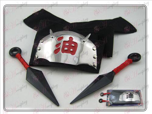 Naruto headband + διπλή κόκκινο πικρή σημειώνονται όχι (τριών τεμαχίων)